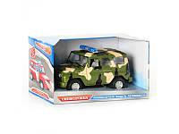 Игрушечный Уазик Joy Toy 9076 C/9067 C: инерционный, звук, свет, металл, коробка 21,5х11,5х11,5 см