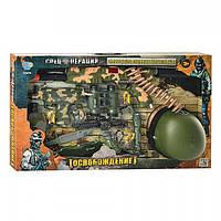 Детский военный набор 33470: автомат, пистолет, граната, снаряжение, звук, свет, коробка 72х41х12 см