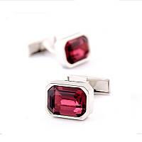 Bow Tie House™ Запонки классические серебристые с бордовым камнем