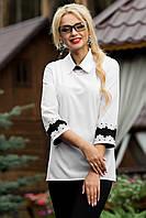 Белая блузка с оригинальной спинкой и рукавами 44-50 размеры
