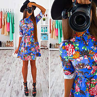 Платье джинс с кармашками на груди разные расцветки SMs545