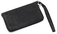 Удобный кожаный чехол-футляр с кармашком нубук черного цвета  для телефона на молнии big