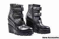 Ботинки женские кожаные Pixy (ботильоны на танкетке, байка)