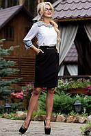 Классическая черная юбка ниже колен в деловом стиле 42-48 размеры