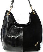 Чёрная женская сумка из натуральной  кожи и замша от Velina Fabbiano