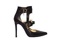 Женские кожаные туфли на высоком каблуке с якорьками