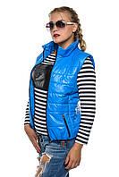Стильная женская жилетка на синтепоне без капюшона, цвет голубой