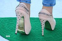 Туфли женские на каблуке, скрытая платформа, нежно-розовые