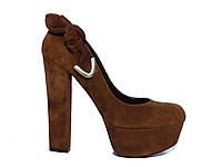 Замшевые женские туфли на высоком толстом каблуке с узелком