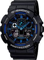 Спортивные часы Casio G-Shock черно-синие, мужские часы Касио Джи Шок