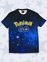 """Детская футболка """"Покемон"""" с 3D принтом из популярной игры, синего цвета."""