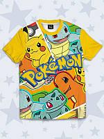 Детская футболка Pokemons (Покемоны) с надписями и 3Д-эффектом для мальчиков.