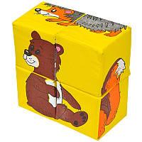 """Мягкие кубики """"Розумна іграшка"""" Дикие животные 4 шт Zivotnue"""
