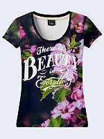 Женская футболка Красота во всем, летняя из лёгкой ткани с 3D принтом.