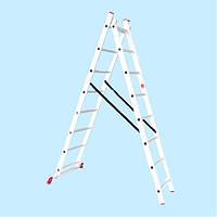 Лестница универсальная двухсекционная INTERTOOL LT-0208 (3,96 м)