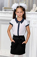 Ш02 - Блуза школьная для девочки с коротким рукавом