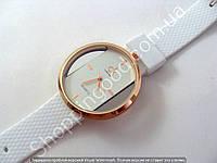 Часы Calvin Klein S-189 женские золотистые с белым циферблатом и ремешком из силикона диаметр 43 мм