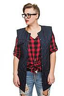 Стеганый модный демисезонный женский жилет, цвет  темно-синий