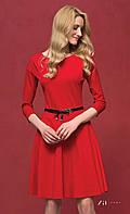 Женское стильное трикотажное платье красного цвета с юбкой-клеш. Модель Carolina Zaps.