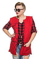Стеганый модный демисезонный женский жилет, цвет  красный