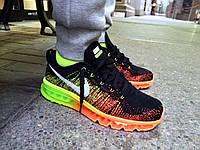 Кроссовки Nike Air Max 2015 Flyknit (Black/Orange/Green)
