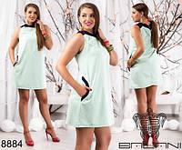 Женское батальное мини платье с карманами
