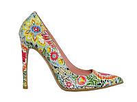 Женские кожаные туфли на каблуке с с цветочной фотопечатью