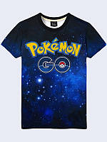 Красочная 3D-футболка Pokemon Go logo с принтом популярной игры. Футболки мужские с 3D рисунком