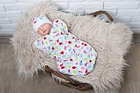 Детская евро пеленка кокон на молнии + шапочка, Божья коровка, 0-3 мес