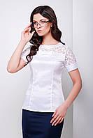 Женская офисная блуза с коротким рукавом и кружевными вставками р.S,M,L,XL
