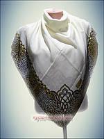 Натуральный платок однотонный молочный, принт 2016