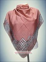 Натуральный платок однотонный бледно- розовый принт 2016