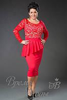 Нарядное платье с асимметричной баской. Красное (большие размеры).