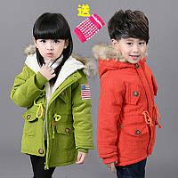 Куртка парка детская с меховым капюшоном
