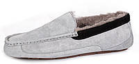 Зимние мужские мокасины угги UGG Ascot с мехом серые