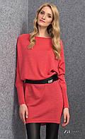 Женское теплое платье-туника кораллового цвета с длинным рукавом. Модель Julie Zaps.