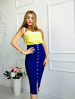 Юбка женская облегающая миди с завышенной талией разные цвета SUm12