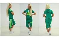 Женский спортивный  костюм adidas Яркий зеленый  (бриджи) +++
