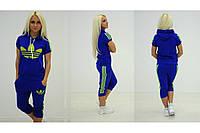 Женский спортивный  костюм adidas  синий Яркий (бриджи) +++