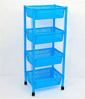 Детская этажерка для игрушек голубая