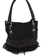Стильная женская сумочка с замшевой бахромой Б/Н art. 60600 черный цвет