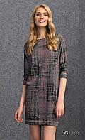 Женское трикотажное платье-туника с принтом розового цвета. Модель Onita Zaps.