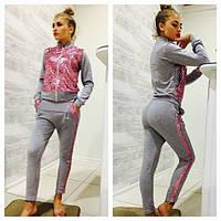 Костюм женский кофта на молнии и брюки с пайетками в разных цветах SKm114