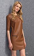 Женское стильное платье коричневого цвета из экокожи. Модель Reda Zaps.