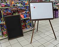 Мольберт двухсторонний магнитный для рисования мелом и маркером 60*46 см для детей
