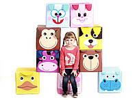 "Детский пуф ""Зоопарк"" 30х30х30 см (утка, бегемот, заяц, котик, кролик, корова, обезьяна, медведь, собачка)"