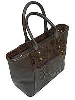 Стильная сумка женская к/з коричневая 16-06 Украина