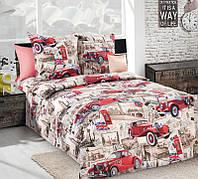 Ткань для детского постельного белья с автомобилями, бязь Ретро 3D