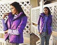 """Фиолетовая демисезонная женская жилетка """"Осенний стиль"""""""