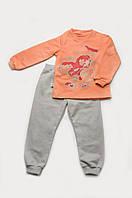 Пижама детская утепленная для девочки (персик-серый)